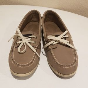 Taupe Gray Sperrys size 9